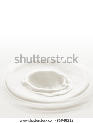 Milk. Template for the falling in the milk of berry or a piece of fruit - stock photo