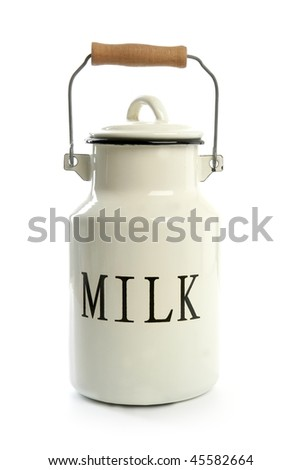 Milk urn white pot traditional farmer style isolated on white - stock photo