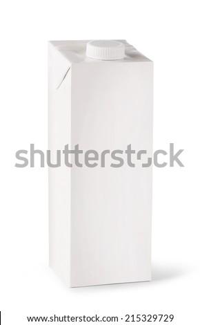 milk white carton package on a white background  - stock photo