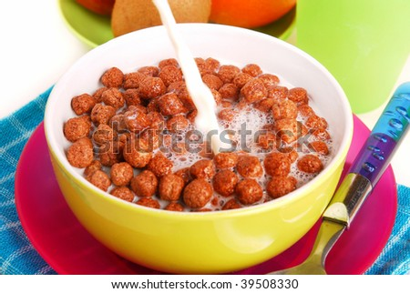 milk with chocolate balls  crisp for breakfast