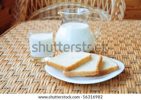 milk with three toasts on the table - stock photo