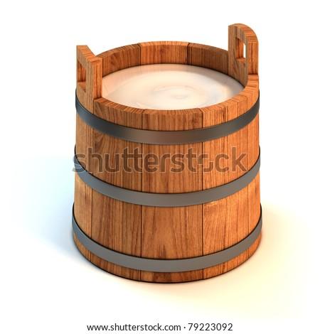 milk wooden bucket 3d illustration - stock photo
