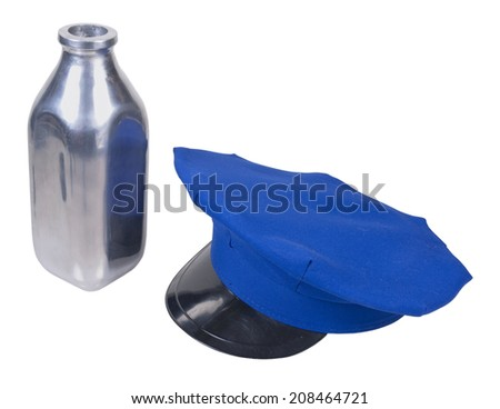 Milkman delivery hat and silver milk bottle - path included - stock photo