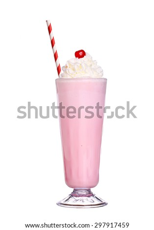 milkshakes strawberry flavor with cherry and whipped cream isolated on white background - stock photo