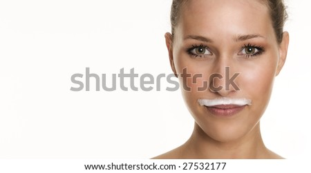 milky beard - stock photo