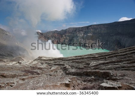 Milky blue lake in geographic asian active volcano