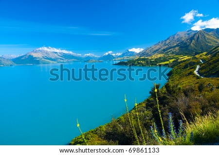 Milky Blue Lake Wakatipu, Southern Lakes, South Island, New Zealand - stock photo