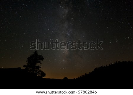 Milky Way and Half Dome - stock photo