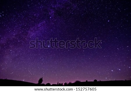 Milky Way and Sars night sky background - stock photo