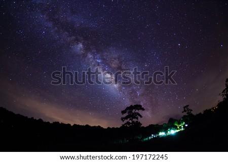 Milky Way at Phu Hin Rong Kla National Park,Phitsanulok Thailand - stock photo