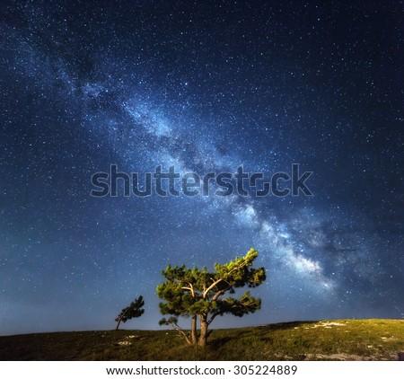 Milky Way. Beautiful summer night sky with stars in Crimea. - stock photo