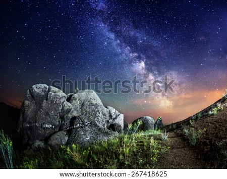 Milky Way. Beautiful summer night sky with stars, rocks, trail and green plants in Ukraine - stock photo