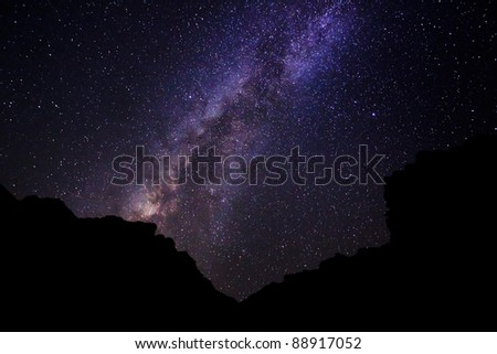 Milky Way Galaxy, Amazing Stars in Night Sky - stock photo