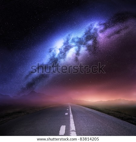Milky Way Galaxy From Earth. - stock photo