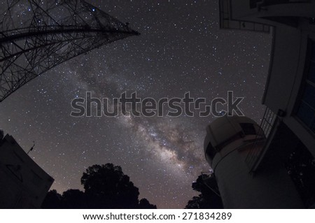 Milky Way Galaxy Galaxies near our world the most. Can be seen with the naked eye. In good weather, the night sky. - stock photo