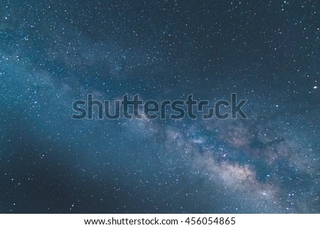 Milky Way galaxy, Long exposure photograph, with grain,noise,starry sky