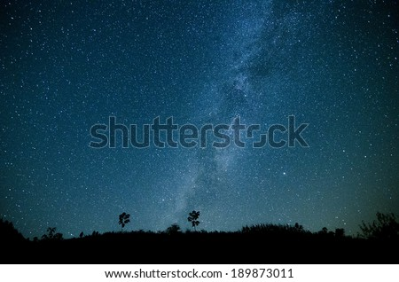 Milky Way Galaxy, Night Sky with Amazing Stars.Photo taken on: September 20th, 2013 from china mountain - stock photo