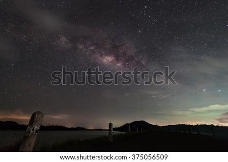 Milky Way Galaxy, Night Sky with on dam  - stock photo