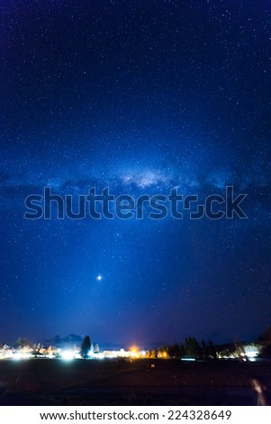 Milky way, Lake Tekapo, New Zealand - stock photo