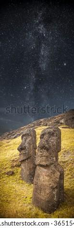 Milky Way. Moais at Ahu Tongariki (Easter island, Chile) - stock photo