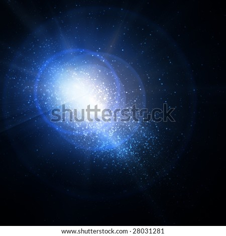 milky way on a dark blue background - stock photo
