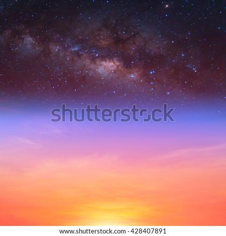 milky way on the sunset sky - stock photo