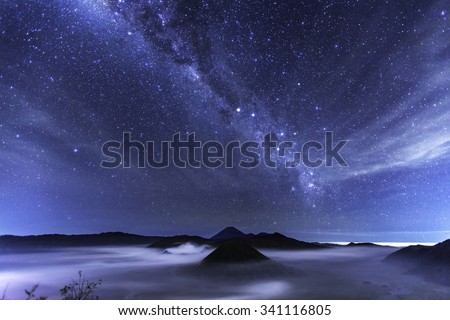 milky way over Bromo National Park, Java - Indonesia - stock photo
