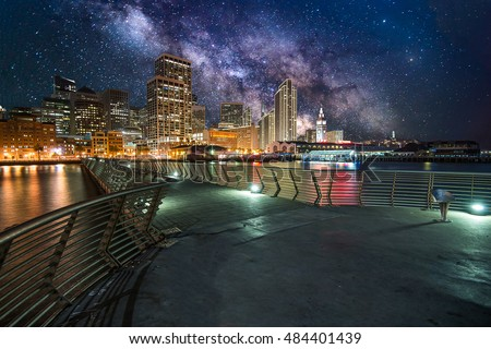 Milky Way over Downtown in San Francisco, Elements of this image furnished by NASA.