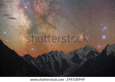 Milky way over mountains - stock photo