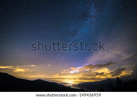 Milky Way over the Blue Ridge Parkway in North Carolina.  - stock photo