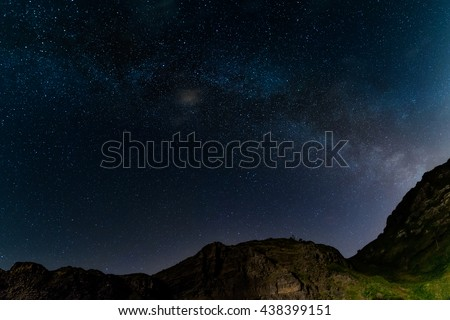Milky way over the hills - stock photo