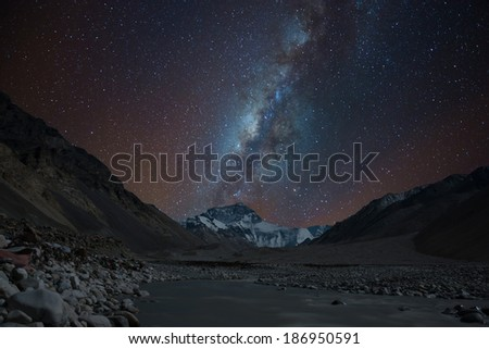 Milky way over the north face of Mt. Everest, Tibet - stock photo