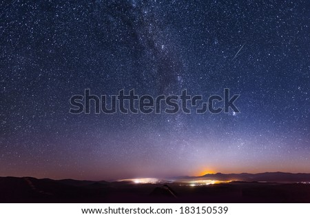 Milky Way over the ridge Chandalaz in Russia - stock photo