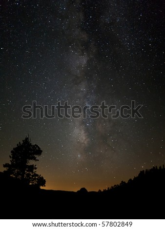 Milky Way Points to Half Dome - stock photo