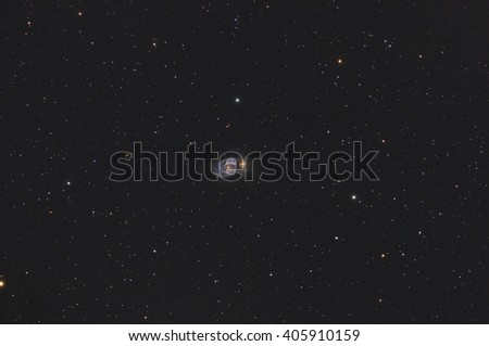 Milky way stars and galaxy M51 in deep space / cosmos. Taken through my telescope.  - stock photo