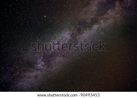 Milky way stars in summer night shot - stock photo