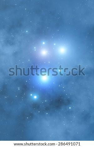 Milky way stars. Stars (Pleiades constellation) are taken through my telescope. - stock photo