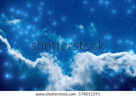 Milky way stars with clouds. 3D Illustration / render.