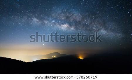 Milkyway on a night sky - stock photo