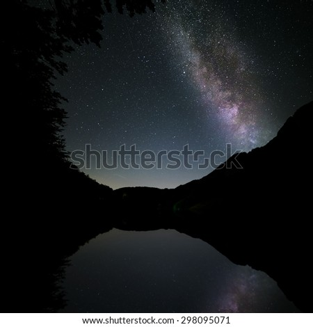 milkyway reflected in the lake in the mountains - stock photo