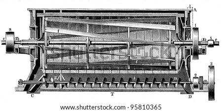 mill, a centrifugal sieve Nagel and Kemp - an illustration of the encyclopedia publishers Education, St. Peterburg, Russian Empire, 1896 - stock photo