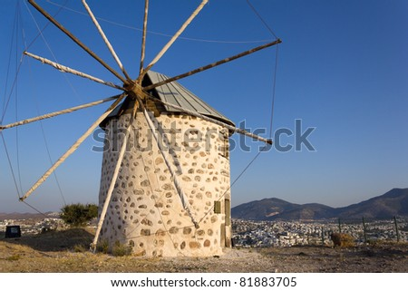 Mill at Bodrum, Turkey - stock photo