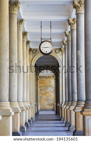 Mill colonnade (Mlynska kolonada) in Karlovy Vary, Czech Republic - stock photo