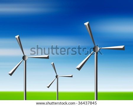 Mill energy machine over landscape background. Illustration