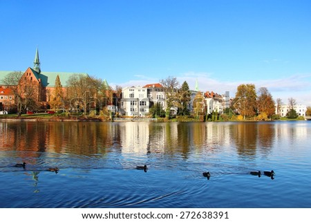 Mill pond (Muhlenteich) in Lubeck old town, Germany - stock photo