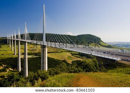 Millau Viaduct, Aveyron Deparement, France - stock photo