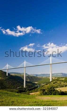 Millau Viaduct, Aveyron Departement, France - stock photo