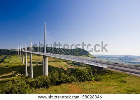 Millau Viaduct, Aveyron Department, France - stock photo