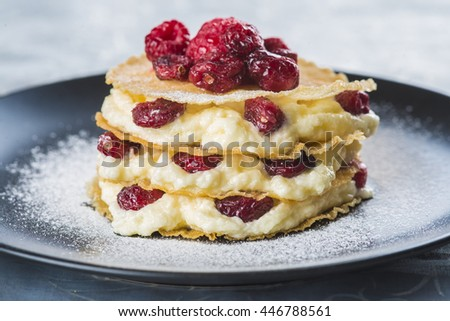 Mille-feuilles with custard cream and dried cramberries for dessert - stock photo