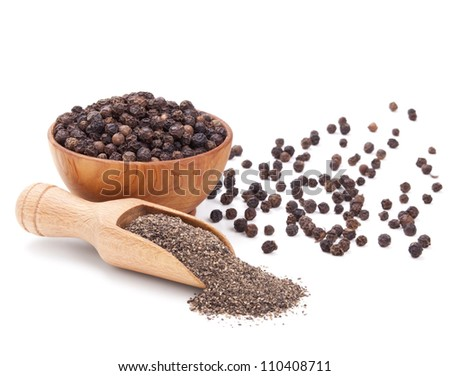 milled black pepper isolated on white background - stock photo